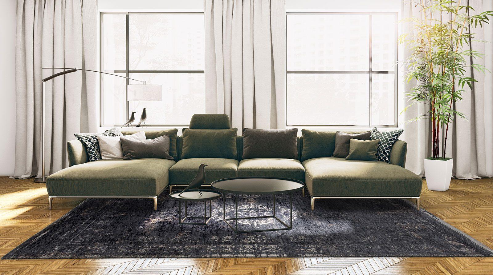 alfombras Louis De Poortere LX8263 Fading World Medaillon Mineral Black interior