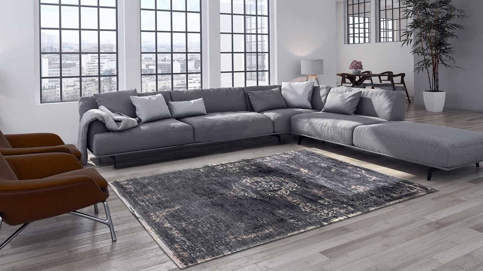 alfombras Louis De Poortere LX8263 Fading World Medaillon Mineral Black interior 2
